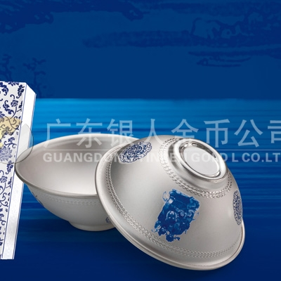 青花纯银银碗万博体育app官方下载,999白银银碗订做,Ag.999纯银碗制造