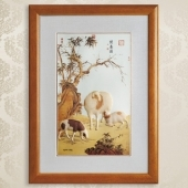 三羊开泰999纯银银画订制销售批发零售制作银画