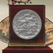 八骏图纯银银盘设计定做、设计制作生产纪念银盘
