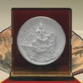 观音赐福银质纪念盘制作、制做纯银银盘