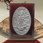 南海观音纯银纪念银盘万博体育app官方下载、制作纪念银盘