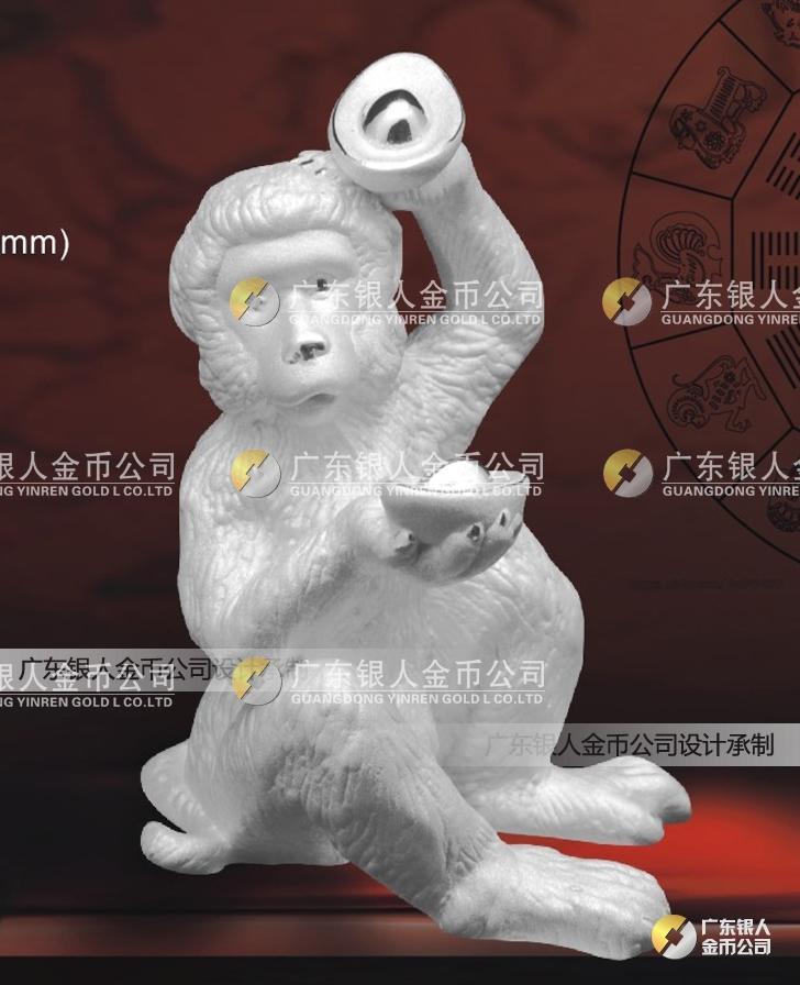 纯银生肖猴摆件,十二生肖猴纯银摆件生产加工